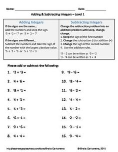 Multiplying Integers  Negative Times A Positive A  Th Grade