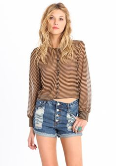 Simple Striped Button-up Top