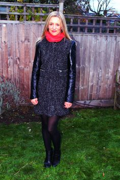 faux leather sleeved coat from Zara - Faking It !