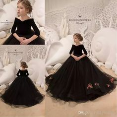0faa0f48ff 2019 Black Toddler Girls Pageant Dresses Lace Appliques Long Sleeves Off  the Shoulder Girls Birthday Evening Prom Gowns Tull Kids Ball Gowns