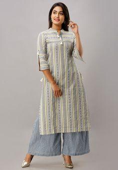 Kurta Patterns, Dress Patterns, Ikat Print, Stripe Print, Kurti Designs Party Wear, Dress Designs, Kurtis With Pants, Off White, Blue And White