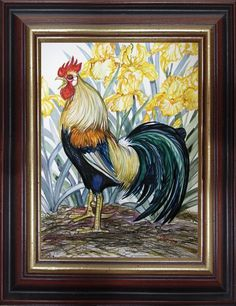 """11"""" X 15"""" watercolor portrait of Keikor the Magnificent and Icelandic Rooster, and beloved Top Rooster at Mack Hill Farms."""