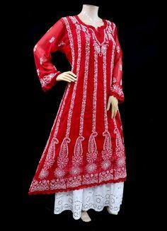 ISHIEQA's Red Georgette Anarkali Kurti - DC1202C Anarkali Kurti, Saree, Types Of Stitches, Tunic Tops, Pure Products, Silk, Cotton, Stuff To Buy, Beauty