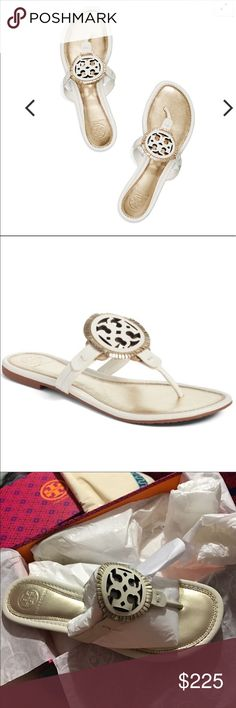 Tory Burch Miller Fringe Sandal Shoes New Tory Burch Miller Fringe Sandal. Color is Bleach Spark Gold. Tory Burch Shoes Sandals