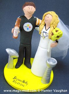 Hockey fan marries football fanatic!!!...read all about it..the bride, a beautiful and demure blonde with a passion for the Pittsburg Penguins runs headlong into a rugged Pittsburg Steelers supporter!!....needless to say this event led to some life changing developments and now the announcement of the formation of their new team!!...Team Married!!... this trophy winning couple is on their way to winning the playoffs of happily ever afterland!!$235#wedding_cake_topper#hockey#steelers…