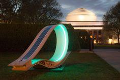 Solar bench by night