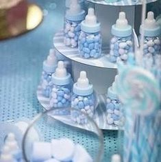 Baby boy shower favors blue baby bottle shower favors its a boy theme baby shower baby . Baby Shower Azul, Idee Baby Shower, Fiesta Baby Shower, Shower Bebe, Baby Shower Party Favors, Baby Shower Centerpieces, Baby Shower Themes, Baby Boy Shower, Baby Shower Decorations