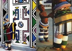 Ndebele tribe in South Africa, the art of mural painting Tribes Of The World, Woman Drawing, Mural Painting, 16th Century, Line Drawing, Geometric Shapes, Murals, South Africa, Bead