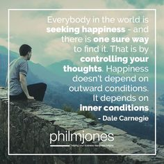 #Happiness doesn't depend on outward conditions. It depends on inner conditions. - Dale Carnegie  Find more of Phil here: https://philmjones.com