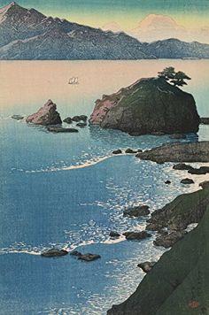 "Japanese Art Print ""Sunrise at Kude Beach, Wakasa (Wakasa Kude no Hama)"" from the Series ""Souvenirs of Travels (1st Series)"" by Kawase Hasui. Shin Hanga and Art Reproductions http://www.amazon.com/dp/B00YSGA21Y/ref=cm_sw_r_pi_dp_p6Qvwb0CYE6RB"