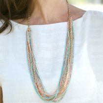 Chain and Seed Bead Summer Necklace | AllFreeJewelryMaking.com