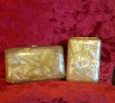 Vintage Smoking Set, Vintage Cigarette Case, Match Holder, Matchbox, Tobacciana, Art Deco Smoking, match Case, Celluloid Case, Gift Idea by TillyofBloomsbury on Etsy