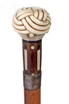 Ivory Nautical Cane-Dated 1868-A Turk's knot handle