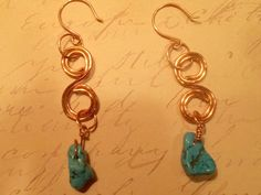 Copper wire work - Copper Swirl Earrings - Turqouise nuggetsFrom Buglys
