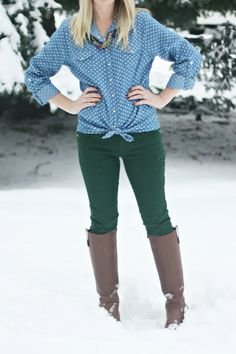 Polka-Dot Chambray Shirt + Forest Green Pants | Outfit | http://prettylifeanonymous.blogspot.com | #Chambray #Boots #Outfit