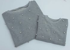 grey melange family matching sweat, white pearls on it, mom and daughter, matching sweats, twinning by OccaModa on Etsy