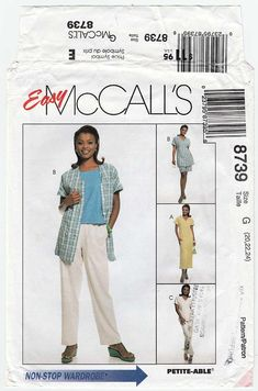 Women's Dress Tunic Top Tank Top Pull-on Pants and Plus Size Sewing Patterns, Pull On Pants, Full Figured, Patterned Shorts, Cap Sleeves, Tunic Tops, Shopping, Etsy, Dresses