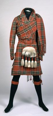 A tartan jacket, kilt and sporran ensemble, circa 1835. (@Penny Kearney -- In case you get the spontaneous urge to bring in a Scot.)