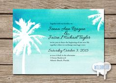 Watercolor Printable Wedding Invitation Palm Trees for beach destination weddings; ocean blue!