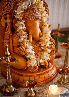 Ganesha altar on highly embroidered silk.