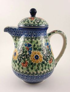 hand painted polish pottery  coffee pot    Bing Images