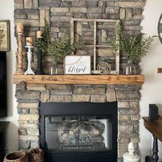 Stone Fireplace Farmhouse Makeover Stone Fireplace Decor, Rustic Fireplace Mantels, Home Fireplace, Fireplace Remodel, Whitewash Stone Fireplace, Stone Fireplace Designs, Stone Fireplace Makeover, Fire Place Mantle Decor, Fireplace Mantel Decorations