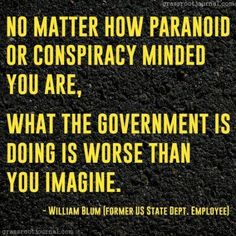 NO MATTER HOW PARANOID OR CONSPIRACY MINDED YOU ARE, WHAT THE GOVERNMENT IS DOING IS WORSE THAN YOU IMAGINE. ~ William Blum (Former US State Dept. Employee)