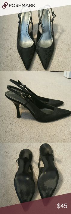 *FLASH SALE!* BCBG heels BCBG black fabric heels. Good condition, just scuffing on bottom of soles. No signs of wear on fabric. BCBGirls Shoes Heels