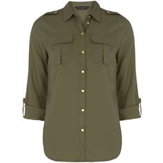Dorothy Perkins Khaki Military Shirt ($31) ❤ liked on Polyvore featuring tops, shirts, khaki, pleated top, shirt top, button front shirt, military style shirt and rayon tops