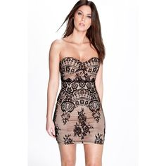 Boohoo Night Hazel Eyelash Lace Bandeau Bodycon Dress ($35) ❤ liked on Polyvore featuring dresses, black, party dresses, black sequin cocktail dress, black slip dress, black maxi dress and bodycon dress
