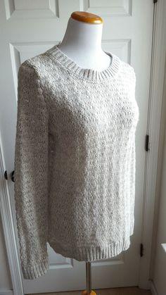 Between You & Me Size L Open Weave Beige Wool Blend Ivory Sweater Scoop Neck #BetweenYouMe #ScoopNeck #capsulewardrobe #minimalism