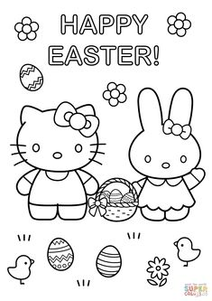 Hello Kitty with Easter Bunny coloring page from Hello Kitty category. Select from 29179 printable crafts of cartoons, nature, animals, Bible and many more.
