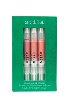 Elegant Emerald Collection - Fall in love with Stila's fall lip glaze trios in beautifully wearable neutrals. Designed to be worn alone or over your favorite lipstick, they add just the right amount of shine. $15