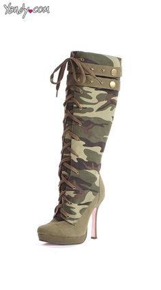 Sergeant Camouflage Boots, Camo Knee High Boots, Camouflage Shoes