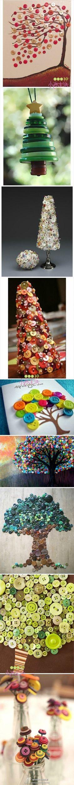 Inspirerend   bomen gemaakt van knopen Door imkesuir
