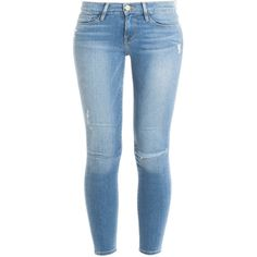 FRAME DENIM Skinny De Jeans ($296) ❤ liked on Polyvore featuring jeans, pants, bottoms, calça, blue jeans, destroyed jeans, super distressed skinny jeans, skinny fit jeans and ripped jeans