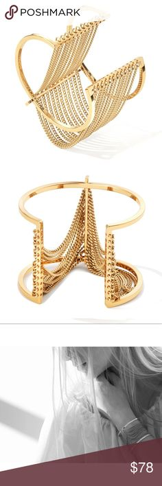 NEW Jenny Bird Fallingwater Cuff in Gold Beautiful wide band cuff featuring draped curb chain, 14k gold-dipped brass, and high polish finish. Adjustable. Brand new! Comes with original dust bag. Jenny Bird Jewelry Bracelets