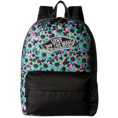 7a942901656 Vans Realm Backpack ((Floral Mix) Black Turquoise) Backpack Bags (£24) ❤  liked on Polyvore featuring bags
