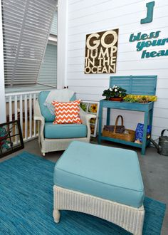 The client had some existing Lloyd Flanders wicker furniture that was pretty but the cushions were in a heavy pattern of drab earth tones. For a quick and refreshing update, all new cushion covers were fabricated in a cool, coastal blue tone of turquoise. The outdoor fabric chosen was a 100% solution-dyed acrylic fabric by the manufacturer Outdura. With proper care the new cushions should give the client and her guests years of laughs and special moments on her covered veranda.