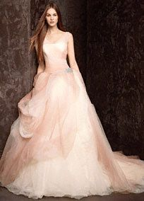 This ombre-printed wedding gown features a breathtaking tossed tulle skirt and soft sheer straps creating a romantic look.    Long ombre-printed tulle ballgown features a flattering veiled bodice and antique jeweled corsage at the hip.  Pick up tossed tulle skirt adds drama.