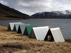 These are Boat sheds near Lake Meðalfellsvatn, Iceland.... but something similar in this as individual cabins.