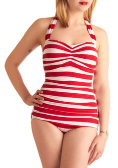 Snack Bar Beauty One Piece in Red, #ModCloth $89.99