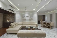 The White Heaven - An apt description for this Living Space ! The Statuario whi. Ceiling Design Living Room, Bedroom False Ceiling Design, Living Room Windows, Living Room Designs, Living Spaces, Living Area, Interior Design Pictures, Best Interior Design, White Haven