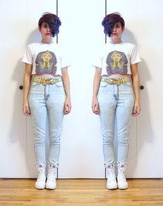 Thrifted Egyptian Tshirt, Thrifted Vintage Belt, High Waist Jeans, Palladium Boots