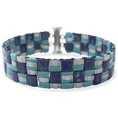 I love how this bracelet mimics Turquoise and Lapis inlay. Find all of the supplies and step by step instructions at FusionBeads.com