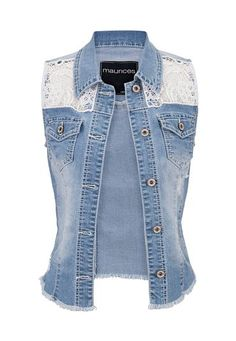 crochet top denim vest with pockets (original price, $34) available at #Maurices