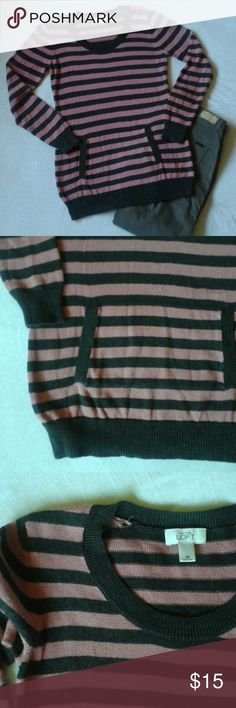 LOFT sweater size xs EUC. Adorable sweater with a front pocket. 100% cotton. Length 28.5 inches, chest 18 inches. The color is true in the first and last picture. Sorry my camra wouldn't catch the color exact in the close up. LOFT Sweaters Crew & Scoop Necks