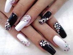 black and white bow nails with diamons | Black and white nail designs with diamond