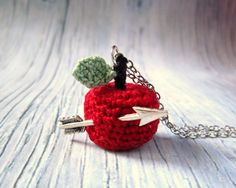 Knit Necklace with crochet Red Apple and arrow.... $39.00, via Etsy.