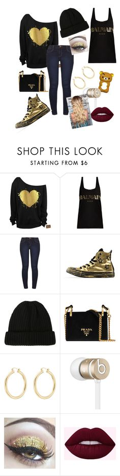 """Random outfit #101"" by rye-claw ❤ liked on Polyvore featuring Balmain, Dorothy Perkins, Converse, Hot Topic, Prada, Isabel Marant and Beats by Dr. Dre"